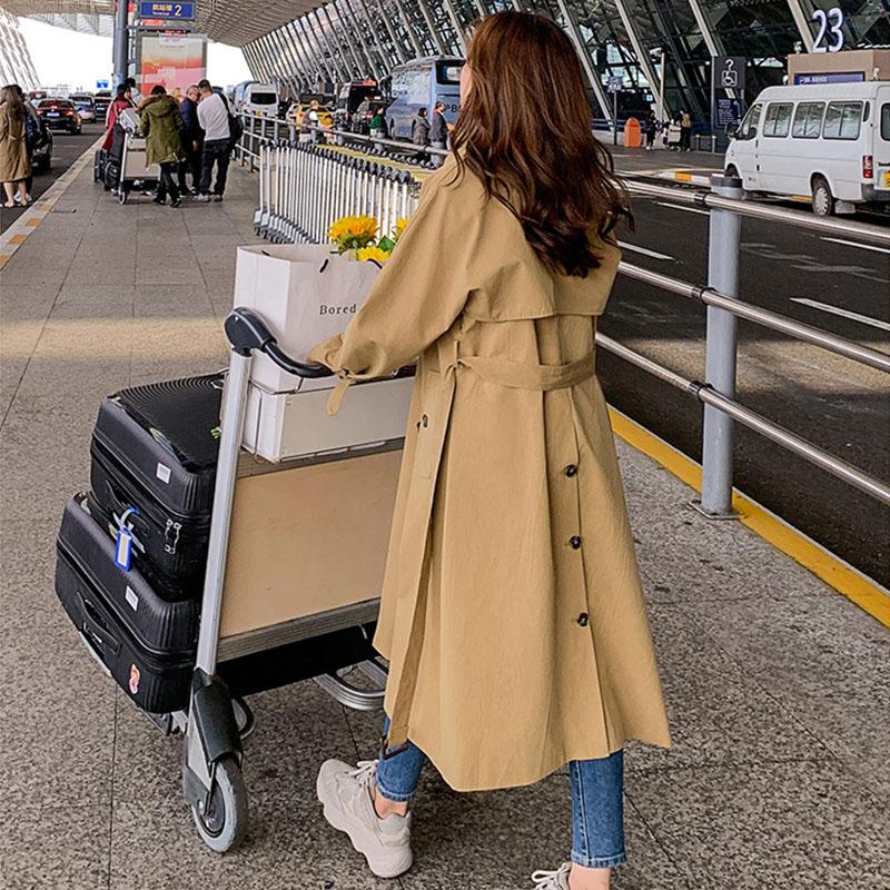Single breasted temperament windbreaker womens 2020 new spring and autumn clothing Korean version mid length waist down to show thin Khaki coat fashion
