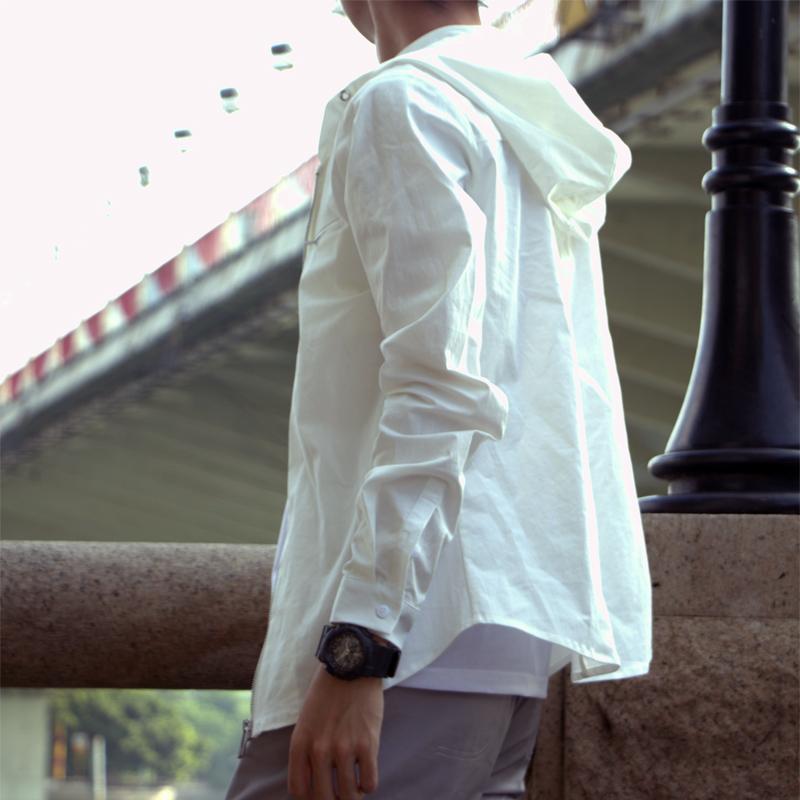 割れた泡オリジナル春秋男性帽子付きシャツ純綿カジュアル水洗いシャツ薄いコート潮騒長袖ファスナー