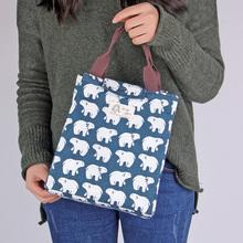 小清新帆布便当包手提包韩式学生饭盒袋加厚可爱保温袋防水午餐包