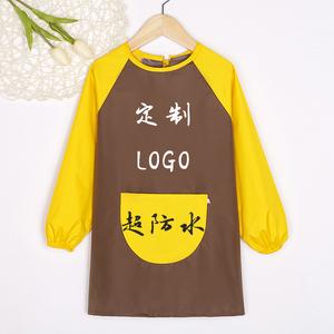 罩衣儿童长袖防水画画衣幼儿园吃饭反穿衣绘画围裙定制logo印字