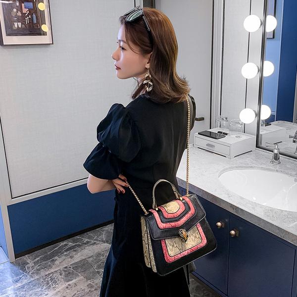 RS9139#蛇纹拼接撞色时尚手提包单肩链条斜跨小方包蛇头女包