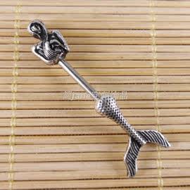 简欧美出口穿刺饰品敏钛钢美人鱼乳链/乳环/乳钉nipple ring