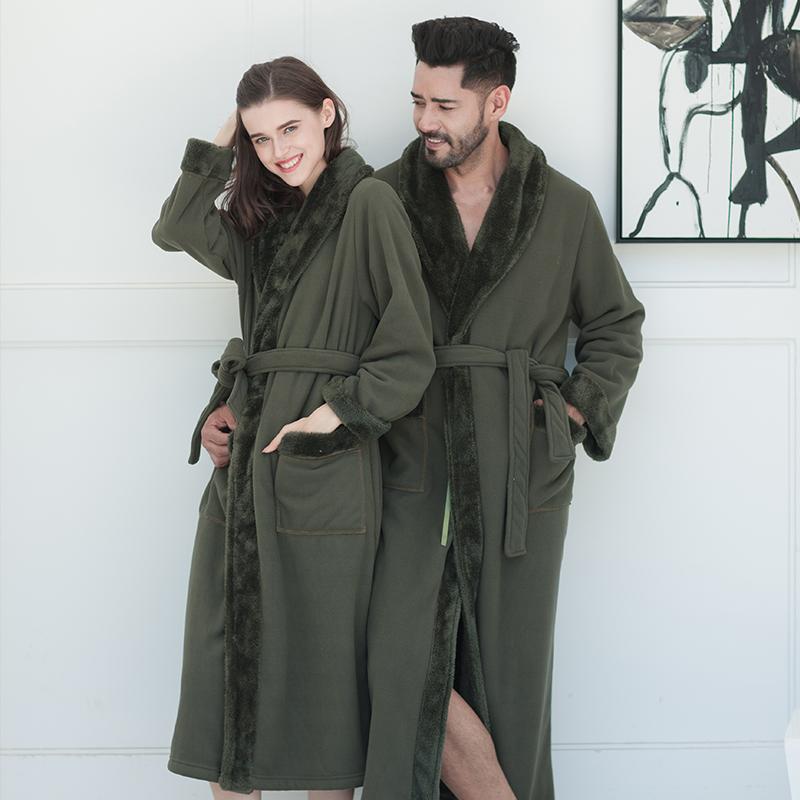 御庭冬季北极绒复合情侣睡袍女款加厚睡衣男士浴袍军绿色浴衣睡衣