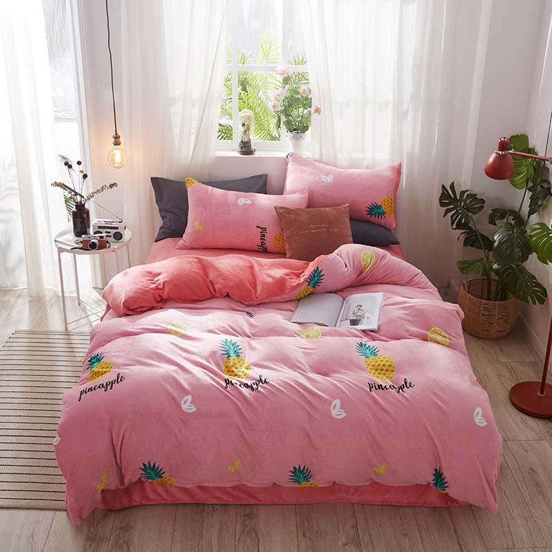 格俪兹加厚法兰绒床上四件套秋冬季珊瑚绒被套法莱绒床单床上用品