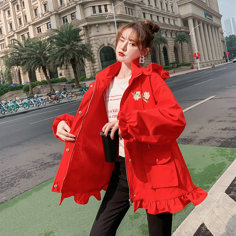 Actual photo: spring and autumn 2020 new Korean loose tooling womens casual all-around hooded solid color Ruffle edge jacket