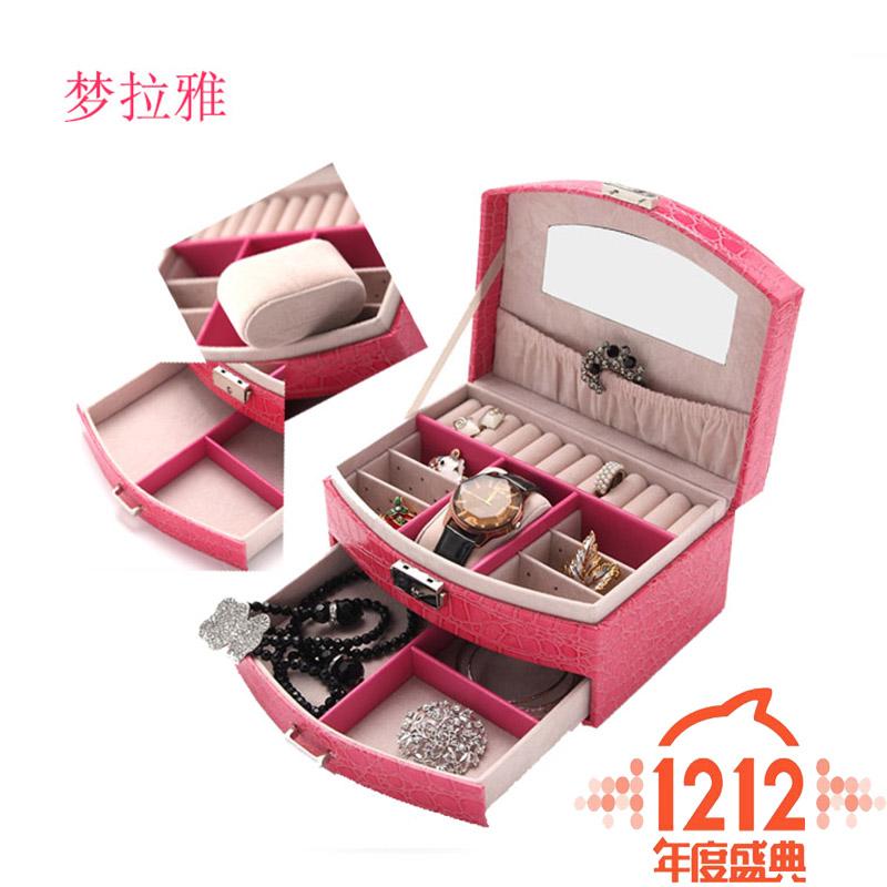 【天天特价】公主欧式韩国首饰盒收纳盒带锁简约耳钉盒子收纳盒子