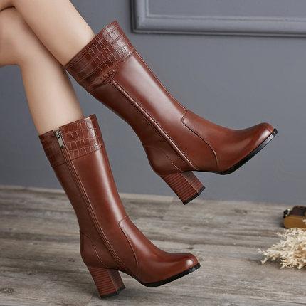 娜箐箐2020冬季新款全牛皮粗跟高跟中筒靴圆头真皮英伦风复古女靴