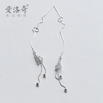 Eloch 925 silver Ear Line Female Korean version Sen series Sweet hollowed fringed earrings temperament long ear jewelry woman