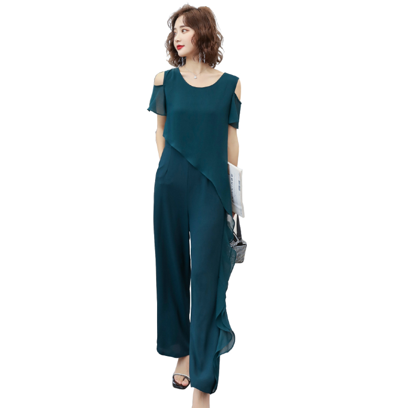Summer off shoulder short sleeve Jumpsuit asymmetric Ruffle panel Jumpsuit pants dark green / black jn02009