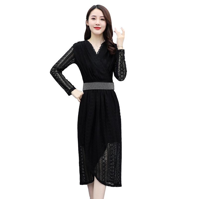 Autumn dress cut out long sleeve lace dress slim V-neck black dress with belt skirt k020821