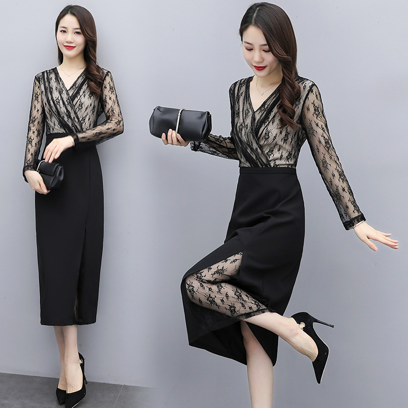 2021 early spring lace stitching split skirt temperament dress shows thin V-Neck long sleeve slim black dress