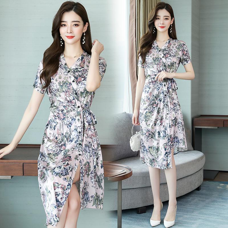 Cross V-neck pleated lace up split dress silk floral dress beige / Pink / Navy