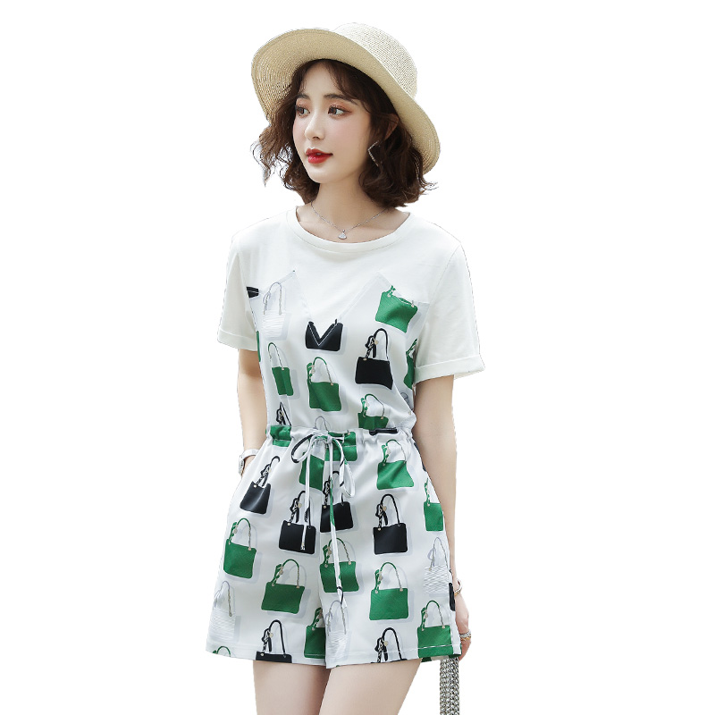 Summer new bag printed Jumpsuit round neck short sleeve drawstring waist Jumpsuit green / red jz08986