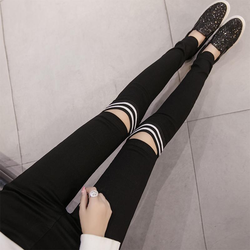 松紧高腰黑色膝盖破洞外穿打底裤女士修身显瘦小脚铅笔裤弹力长裤