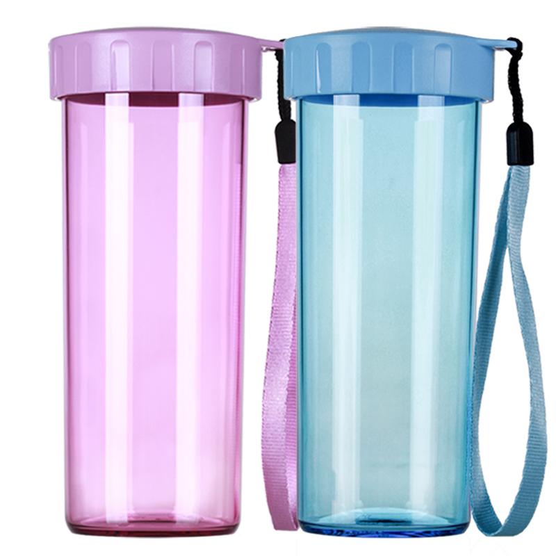 特百惠水杯子瑩彩情侶對杯套裝430ml^~2塑料便攜 水壺茶杯