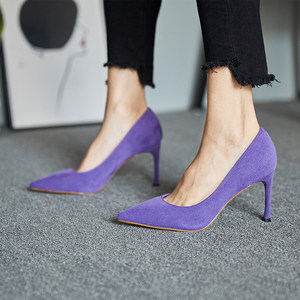 韩版2019紫色尖头细跟女鞋新款反绒面少女高跟鞋网红浅口性感单鞋
