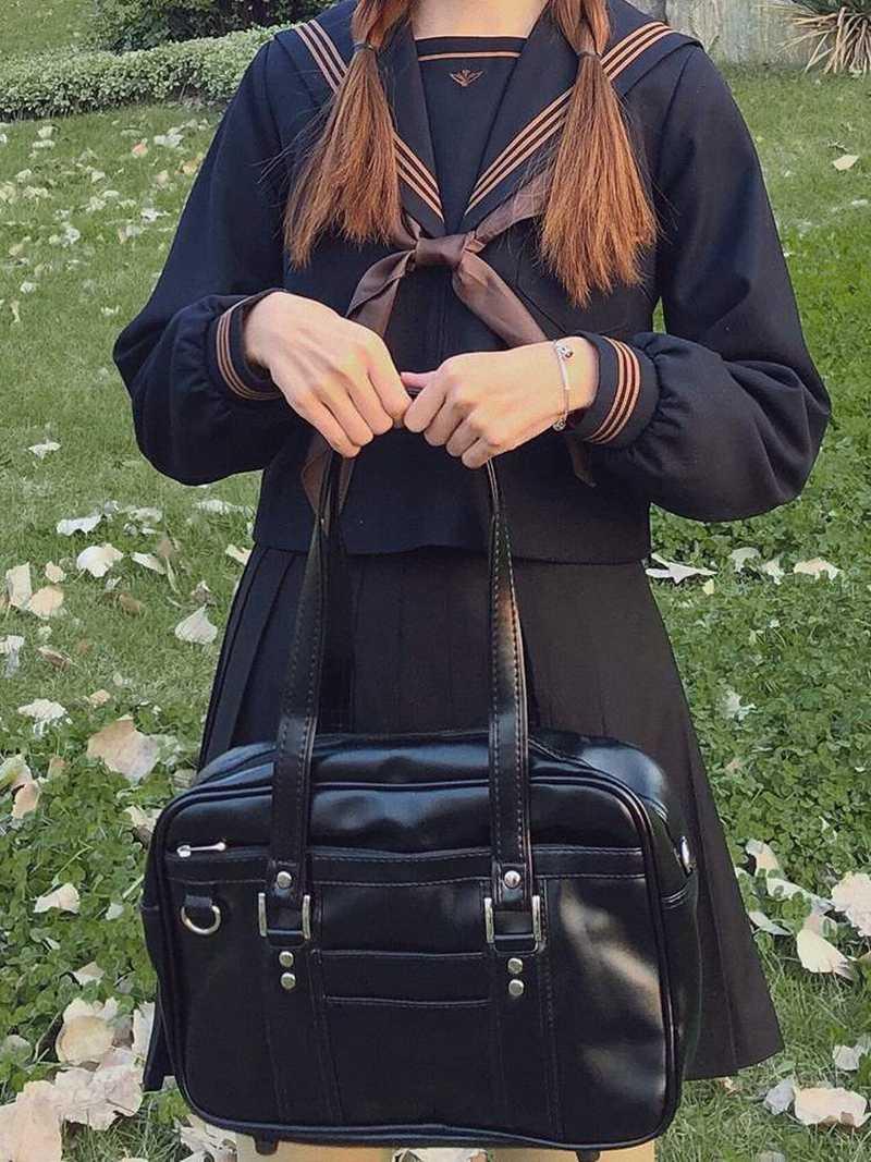 ショルダーショルダー日本式JK制服バッグミニトランペット女性用PU皮革二次元学生通勤鞄