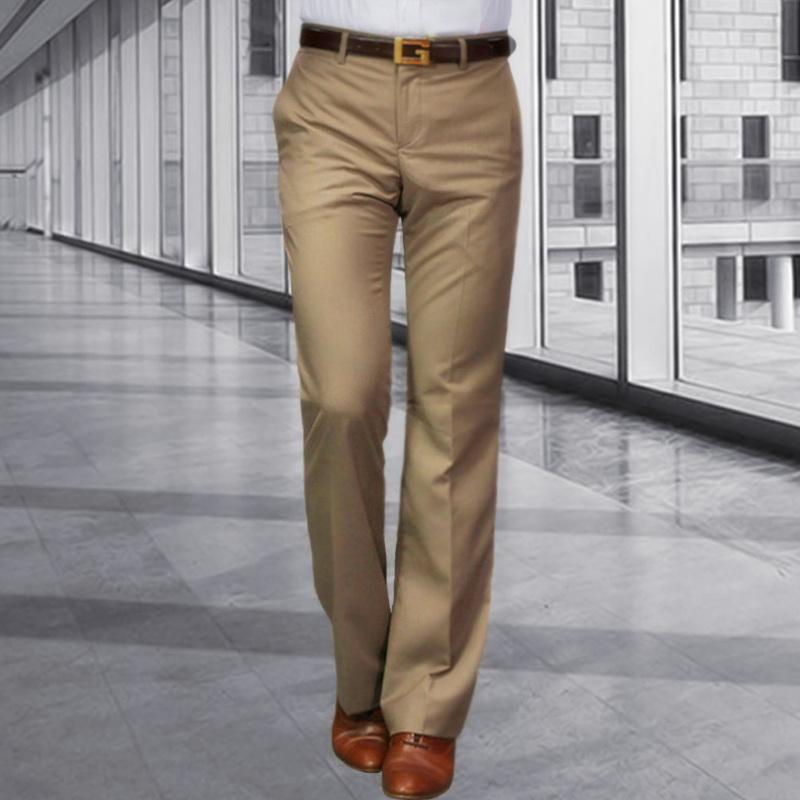 YUEMOYI新款喇叭裤男商务垂感阔脚西装裤男士卡其色休闲直筒西裤