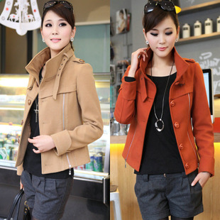 Conjugated AES 2013 new Autumn Women Korean fashion stand up collar short paragraph woolen jacket wool coat