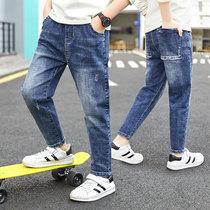 2020春装新款男童裤子长裤儿童牛仔裤韩版修身中大童帅气裤子洋气