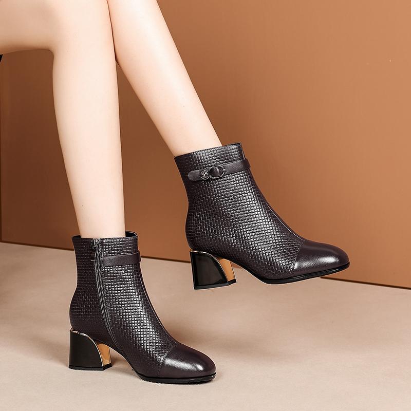粗跟短靴圆头秋季新款石头纹牛皮侧拉链中跟妈妈靴加绒女士皮靴