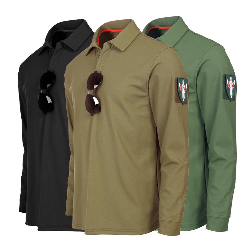 军迷T恤特种兵T恤男翻领军长袖春秋外套衣服体能训练服