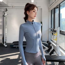 健身服女外套春秋款紧身显瘦长袖瑜伽服上衣健身房跑步运动套装