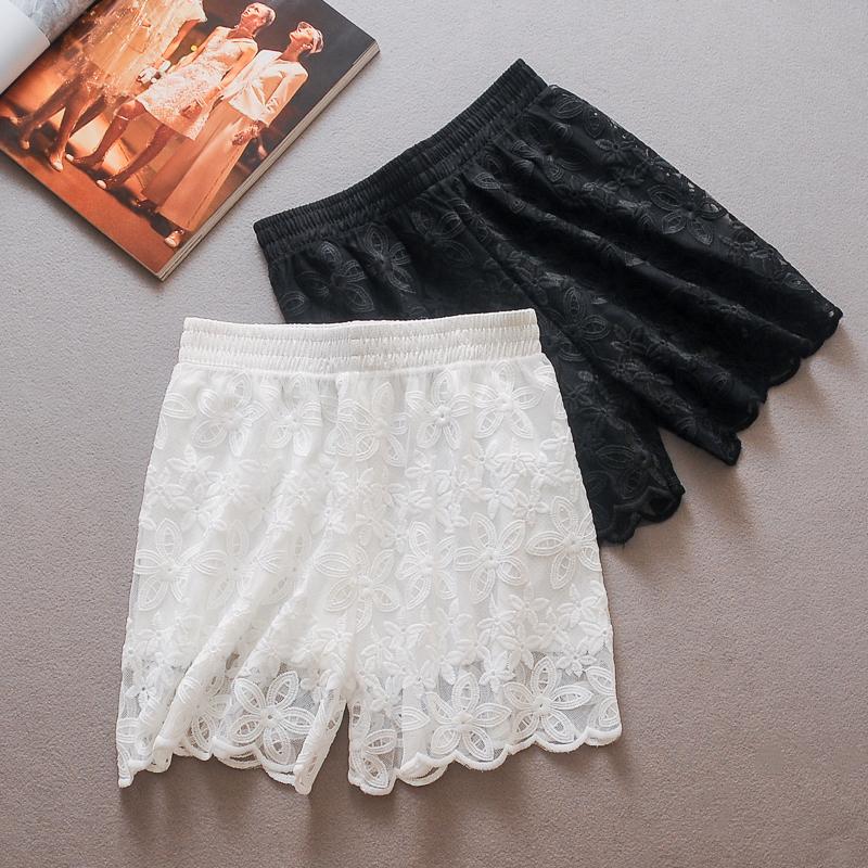 少女白色蕾丝花边外穿安全裤短裤(非品牌)