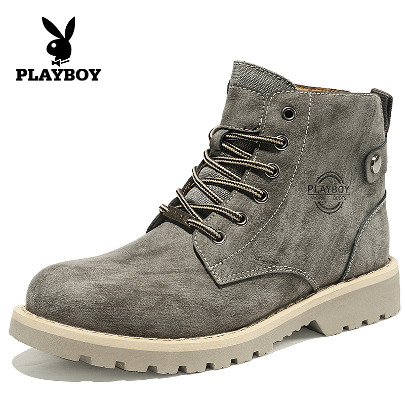 Playboy Martin boots men's high-top winter plus velvet British style short boots trendy shoes tooling men's leather boots military boots
