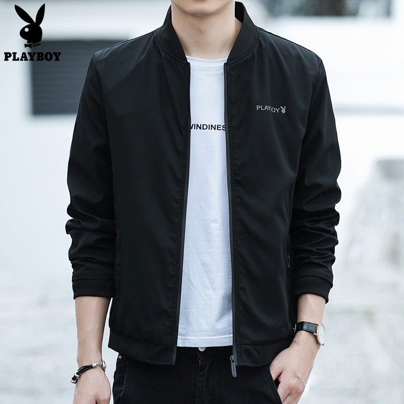 Playboy jacket 2021 spring new men's fashion solid color shirt youth trend black jacket men's clothing