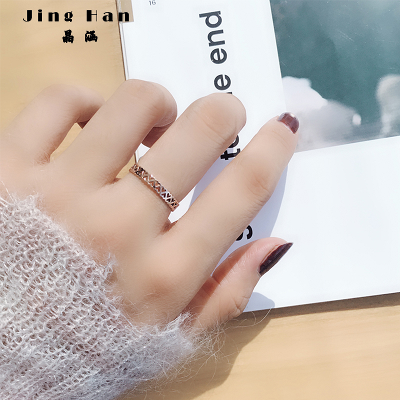 Japan and South Korea personality trendsetter love ring female titanium steel index finger ring rose gold simple Forest System INS net red cold wind
