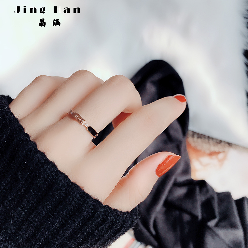 Japanese and Korean fashion people design titanium steel index finger ring, 18k rose gold plated, simple net red temperament ins