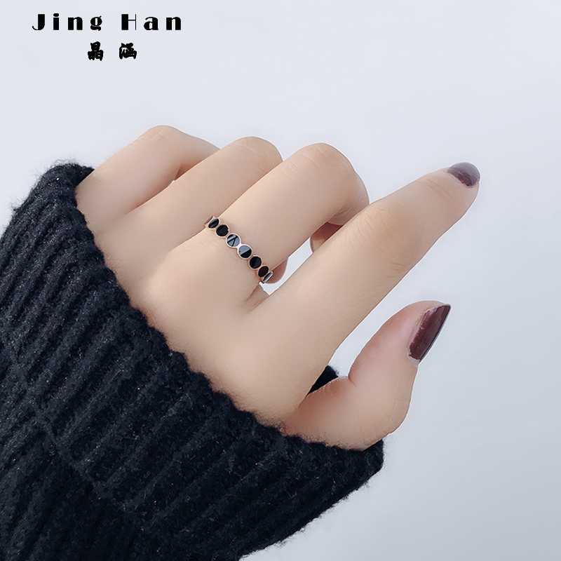 Japan and South Korea personality ring female titanium steel index finger ring 18k rose gold simple geometry trendy brand net red cold wind