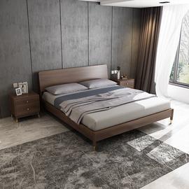 现代经济型1.8米双人床婚床 北欧简约小户型出租房用1.5米板式床图片