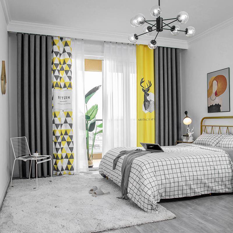 窗帘定制新款儿童房卧室遮光拼接北欧风棉麻客厅简约现代小鹿布帘