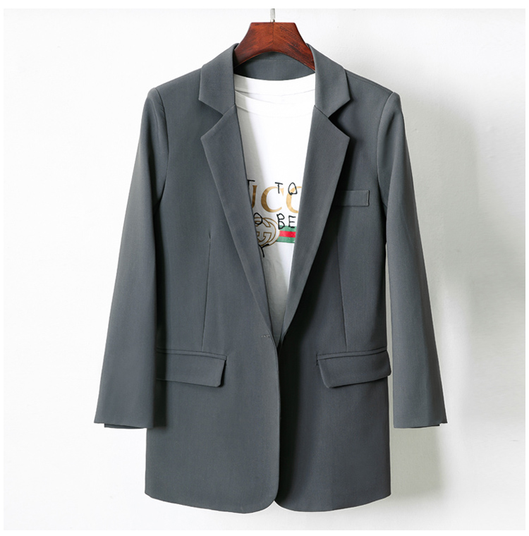 Medium and long small suit coat womens 2020 autumn new Korean one button fashion versatile loose casual coat