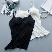 白色蕾丝长款打底衫女士睡眠背心内衣防走光带胸垫外穿裹胸抹胸女