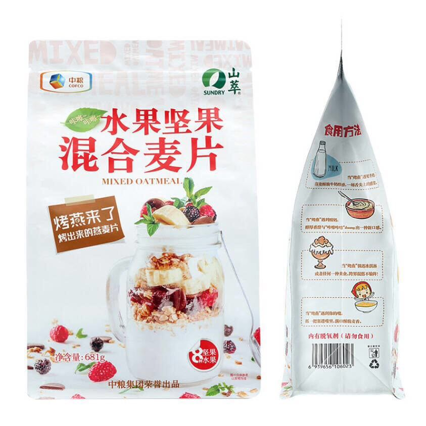 COFCO Shancui fruit and nut mixed oatmeal 681g instant oatmeal yogurt partner baked oatmeal