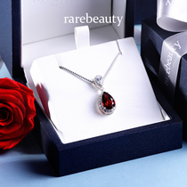 Red Garnet Necklace Female natural gemstone pendant womans money pendant simple collarbone chain 925 silver birthday gift