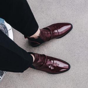 欧洲站2019秋冬新款平跟红色马丁靴