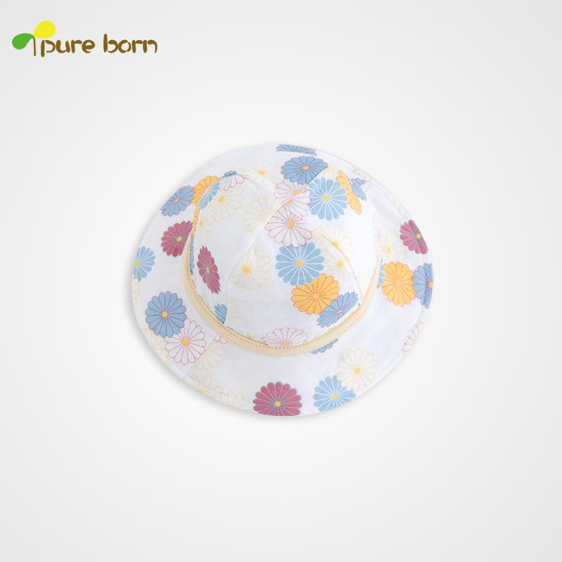 pureborn新品 男女寶寶遮陽帽 嬰兒帽子夏 太陽帽 漁夫帽 夏涼帽