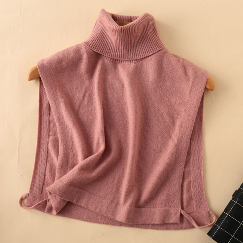 Autumn and winter new wool high collar fake collar childrens versatile Pullover warm knitted neck sleeve cashmere cervical shawl