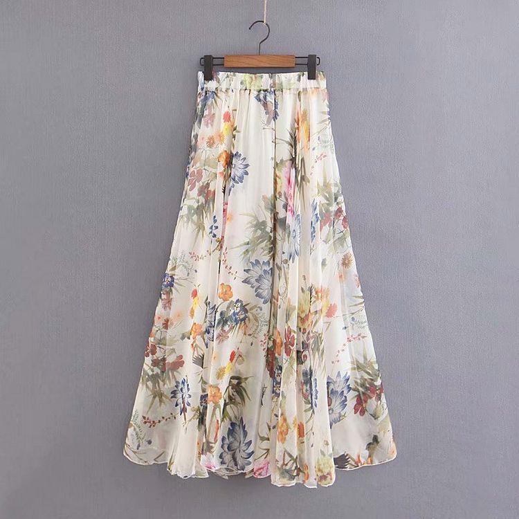 外贸原单尾单余单出口剪标折扣女装欧美风显瘦印花半身裙中长裙潮