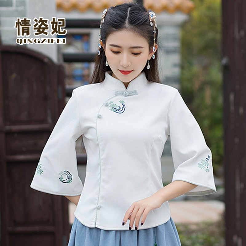 Republic of China Chinese Tang suit modern young improved flag Robe tops Chinese style Hanfu women retro