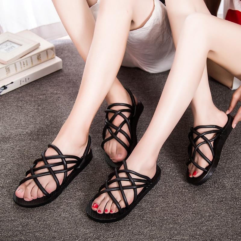 热销2件五折促销夏季透明塑料洞洞鞋厚底包头女鞋