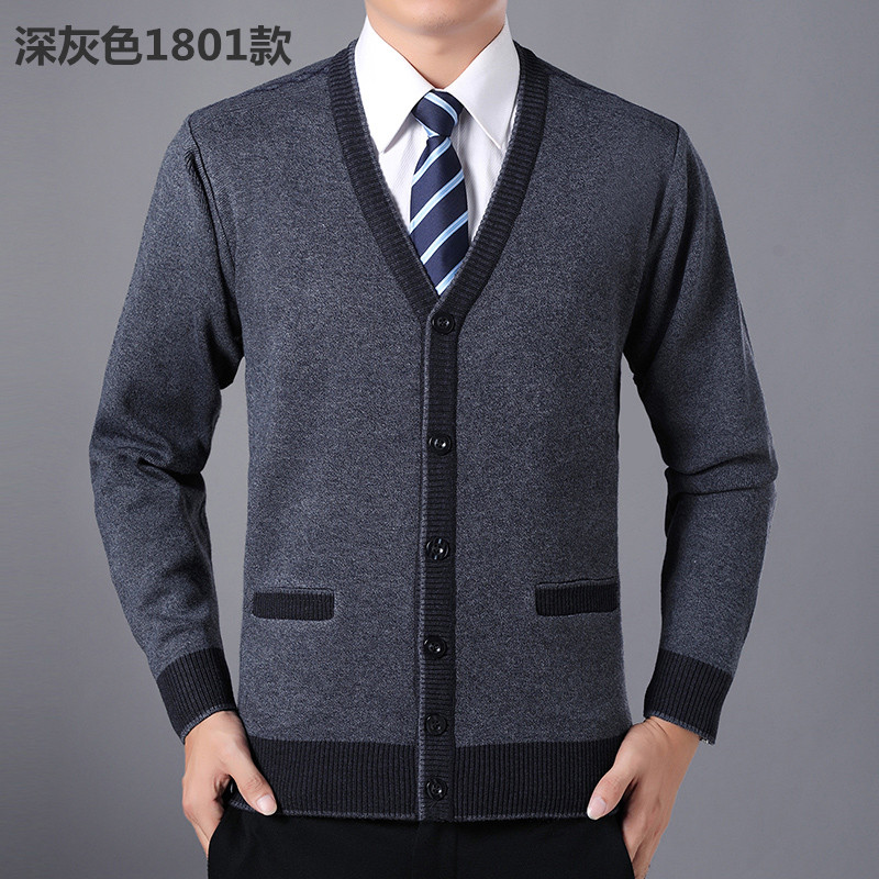 Winter middle aged and old peoples sweater mens V-neck cardigan mens coat knitwear dads oversized Plush sweater