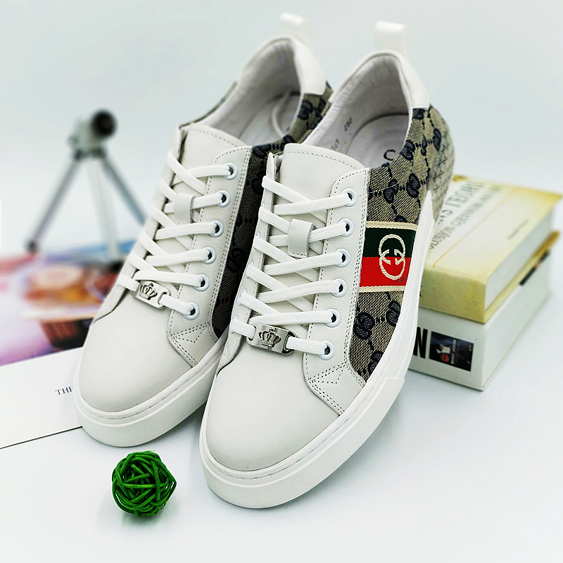 Vjuk casual shoes mens leather fashion brand British small white low top shoes single shoes European station casual board shoes printing