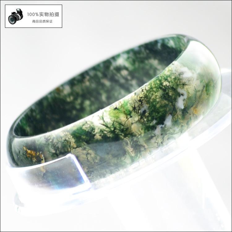 阜新水草玛瑙手镯 条镯 绿苔藓天丝玛瑙 支持珠宝店验货56MM 6301