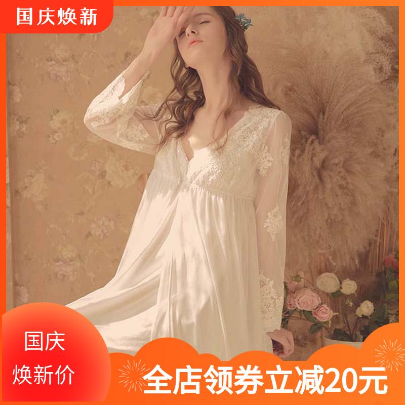 11-12新券奢华宫廷风纯棉女士复古性感睡裙