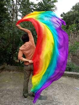 七彩色儿童跳舞手纱成人纱长丝巾